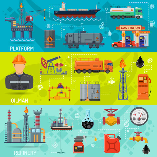 Oil industry Banners vector art illustration