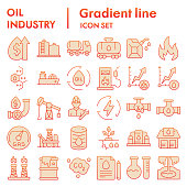 Oil industry color icon set. Fuel signs collection, vector sketches, logo illustrations, web symbols. gradient style pictograms package isolated on white background. Vector graphics