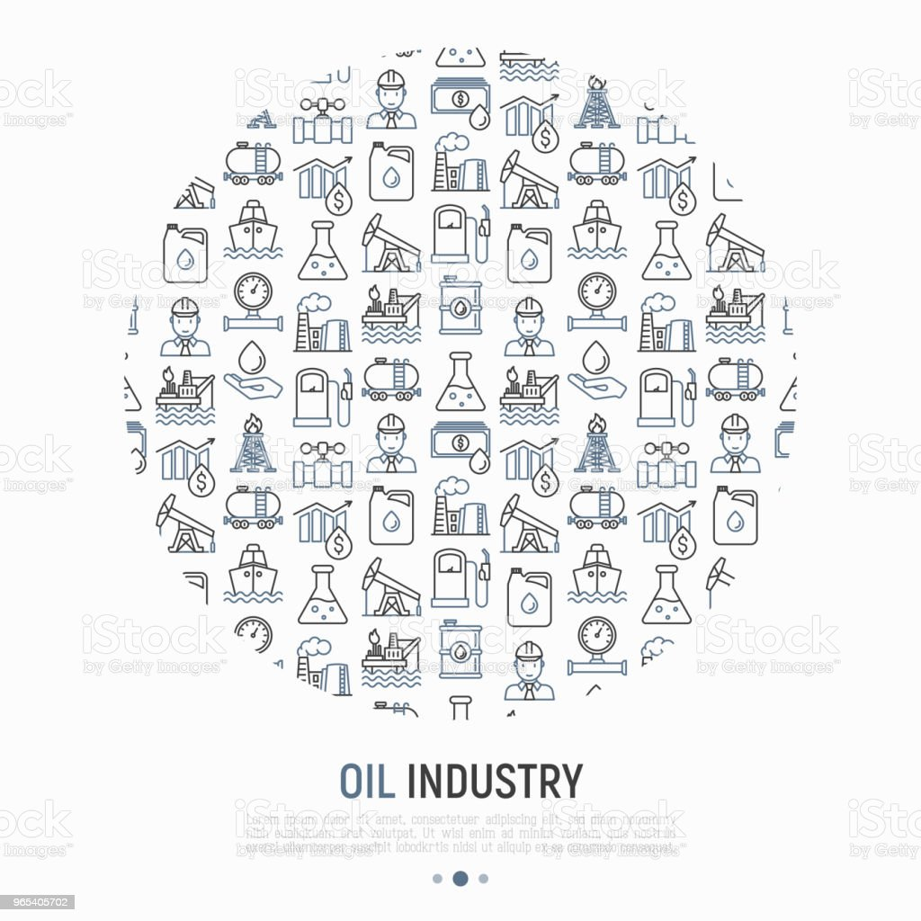 Oil industry concept in circle with thin line icons: gas, petroleum, diesel,  truck, tanker, ship, refinery, barrel. Modern vector illustration, web page template. royalty-free oil industry concept in circle with thin line icons gas petroleum diesel truck tanker ship refinery barrel modern vector illustration web page template stock vector art & more images of barrel