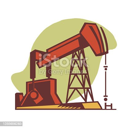 Oil industry concept in flat style depicting working oil derrick. vector illustration of pump jack  isolated on white background