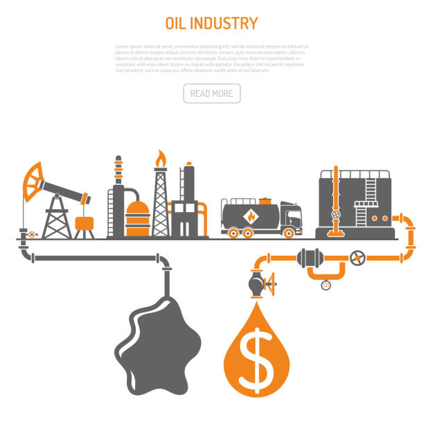 Oil industry Concept Oil industry Concept with Two Color Flat Icons extraction production refinery and transportation oil and petrol. isolated vector illustration oil and gas stock illustrations