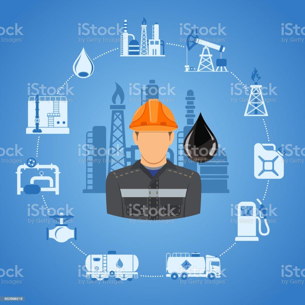 Concepto de la industria de aceite - ilustración de arte vectorial