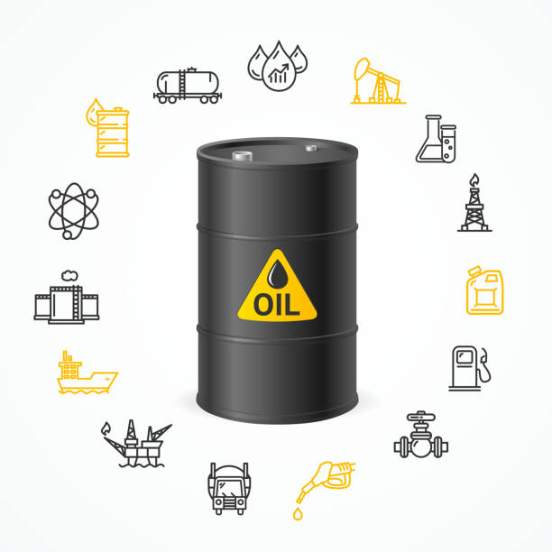 Oil Industry Concept. Vector Oil Industry Concept with Black Barrel Drum Label and Icon Set Pixel Perfect Art. Material Design. Vector illustration oil drum stock illustrations