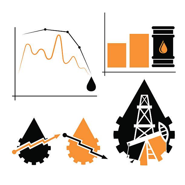 öl industrie diagramm fall und aufstieg der ölpreise - fallrohr stock-grafiken, -clipart, -cartoons und -symbole