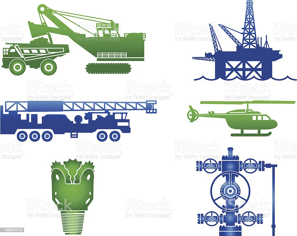 Oil Industry Equipment Images in Blue and Green royalty-free stock vector art