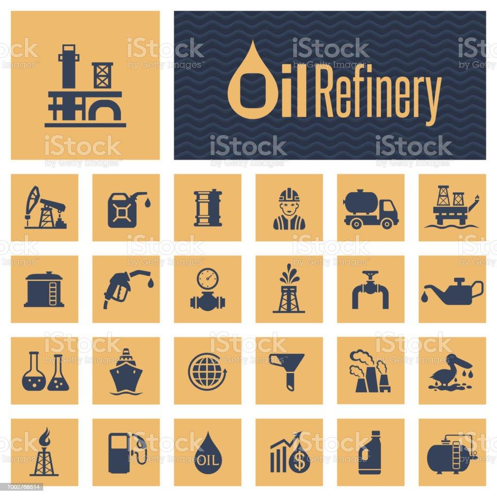 Oil Industry Icon Set vector art illustration
