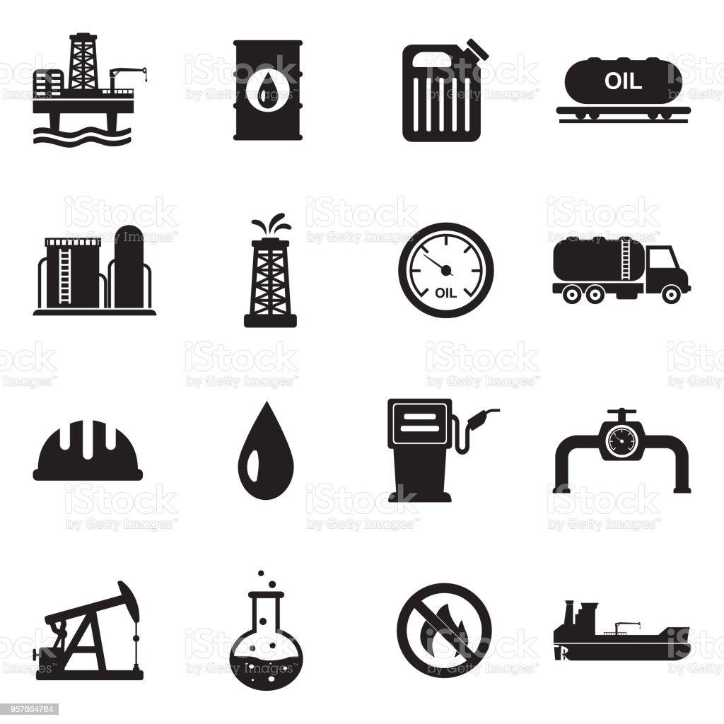 Iconos de la industria del petróleo. Diseño plano negro. Ilustración de vector. - ilustración de arte vectorial