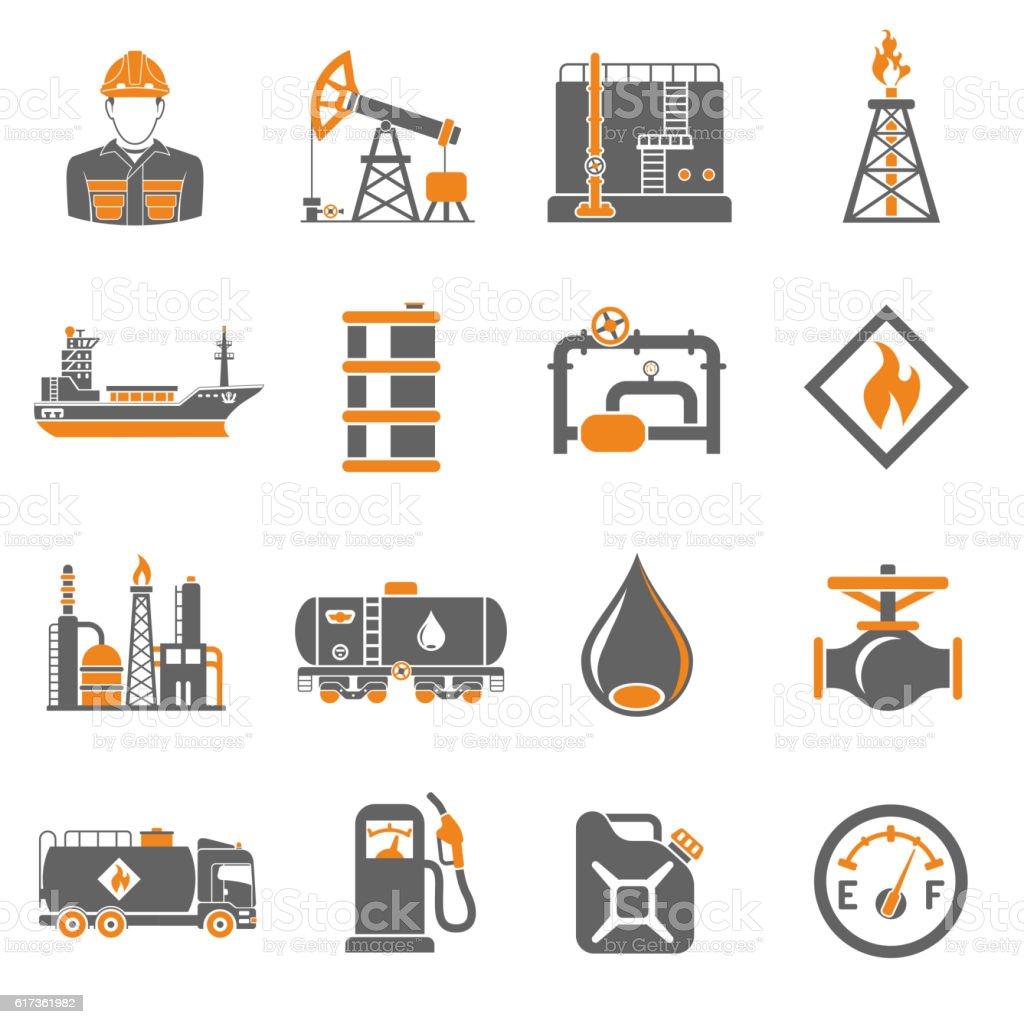 Oil industry Icons Set vector art illustration