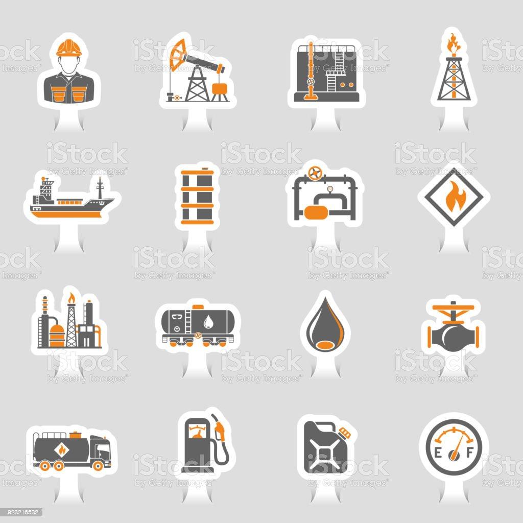 Conjunto de etiqueta de los iconos de la industria de aceite - ilustración de arte vectorial