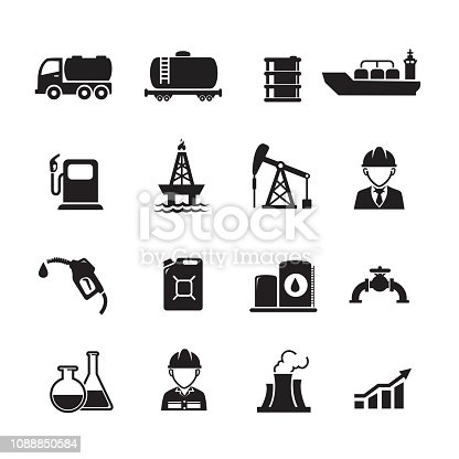 Oil industry icons, Set of 16 editable filled, Simple clearly defined shapes in one color, Vector