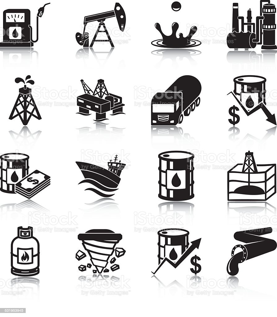 Oil industry icons vector art illustration