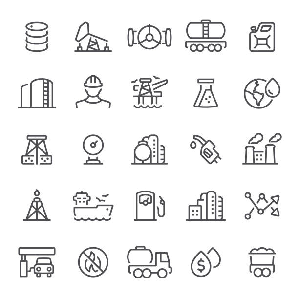 Oil Industry Icons oil, gasoline, fuel and power generation, industry, icon, icon set, gas station oil drum stock illustrations
