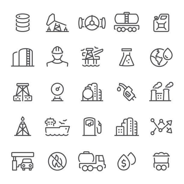 ilustraciones, imágenes clip art, dibujos animados e iconos de stock de iconos de industria de petróleo - gas
