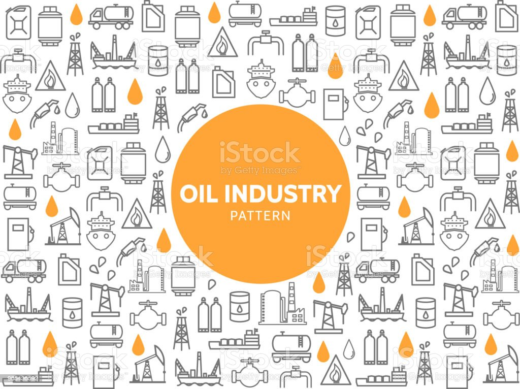 Oil Industry Line Icons Pattern royalty-free oil industry line icons pattern stock vector art & more images of backgrounds