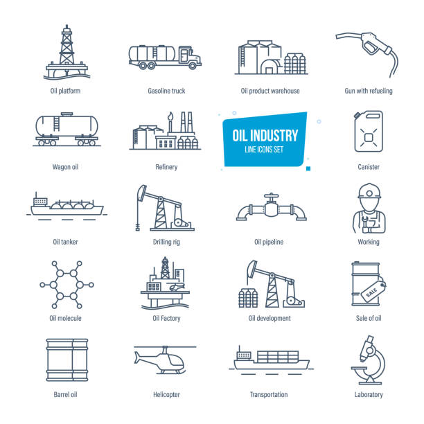 Oil industry line icons set. Gas station, factory, transportation, buildings Oil industry thin line icons, pictogram and symbol set. Icons for gas station, oil factory and tanker, transportation, buildings, warehouse, development, modern laboratory. Vector illustration oil and gas stock illustrations