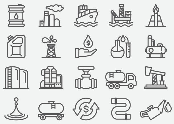 Oil Industry Line Icons Oil Industry Line Icons oil and gas stock illustrations