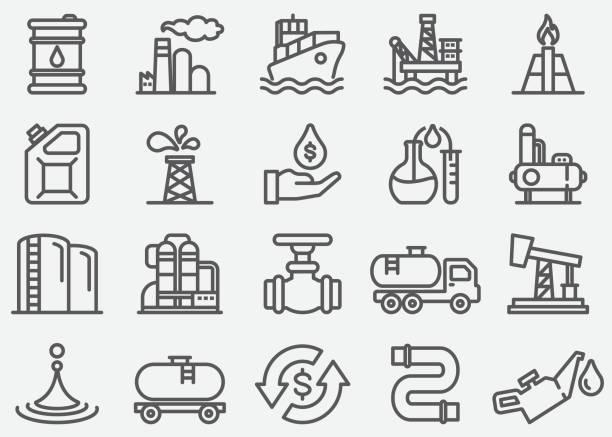 stockillustraties, clipart, cartoons en iconen met olie industrie lijn pictogrammen - opslagruimte