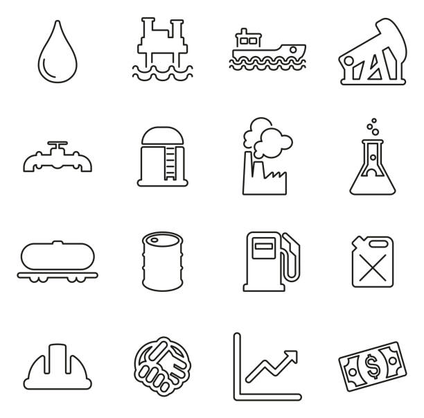 Oil Industry or Offshore Oil Platform Icons Thin Line Vector Illustration Set This image is a vector illustration and can be scaled to any size without loss of resolution. oil drum stock illustrations