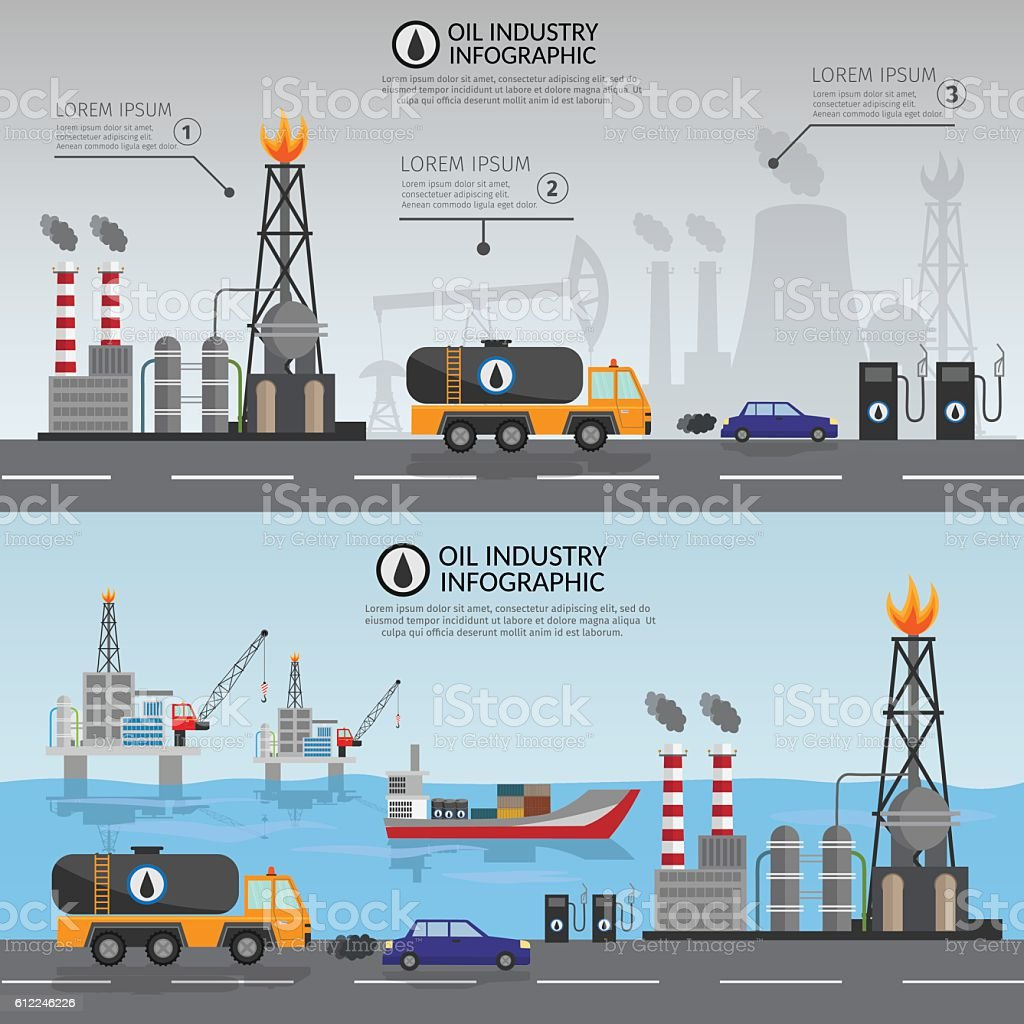 Oil industry processing and transportation infographics set production elements vector art illustration