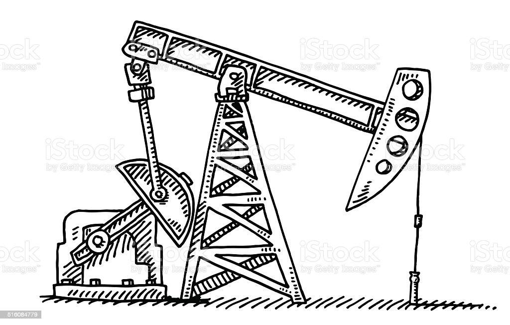 Oil Industry Pump Jack Drawing vector art illustration