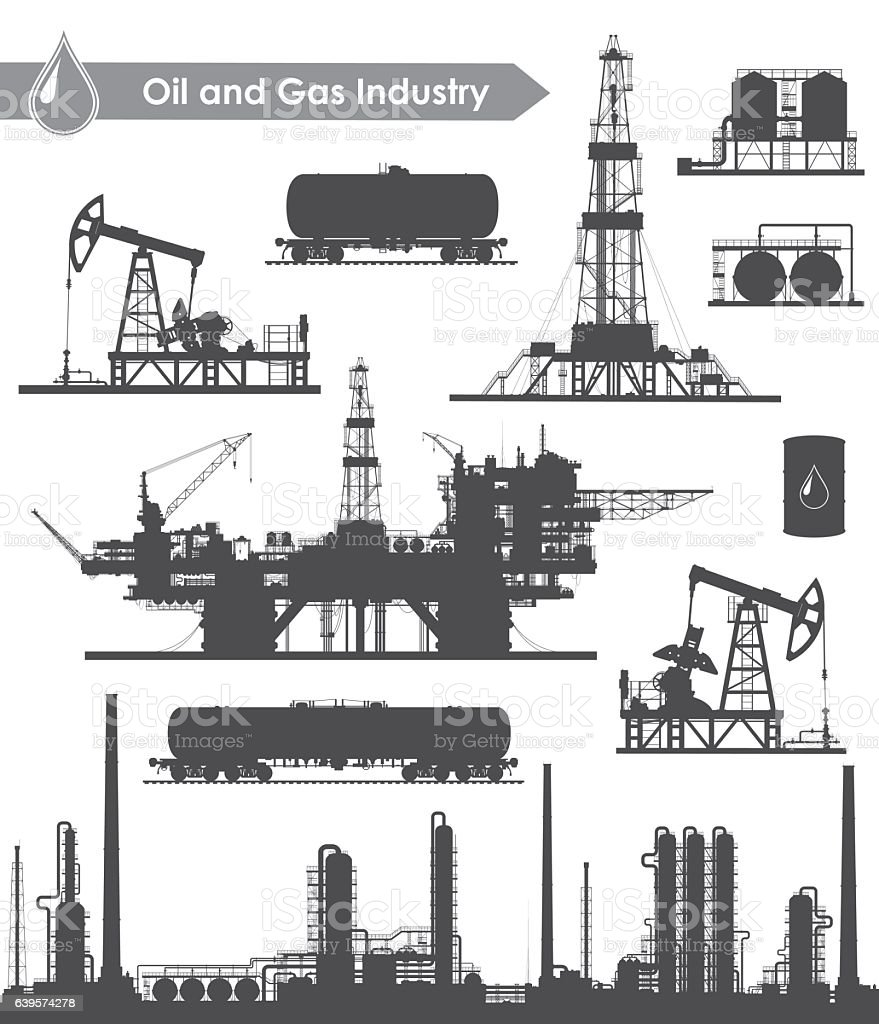 Oil industry set vector art illustration