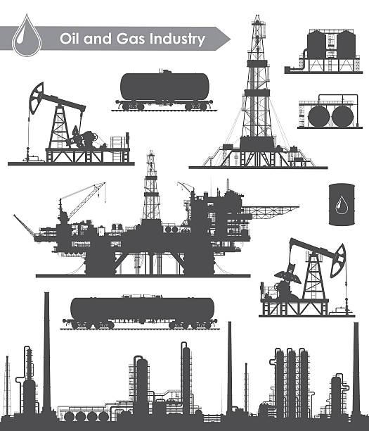 oil industry set - kule stock illustrations