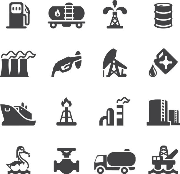 stockillustraties, clipart, cartoons en iconen met oil industry silhouette icons | eps10 - radiobuis