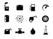 Oil industry vector icon set.