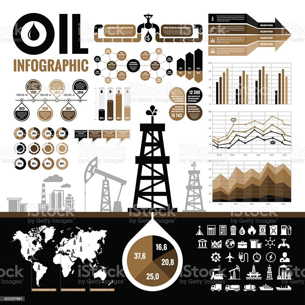 Oil industry - vector infographic elements vector art illustration