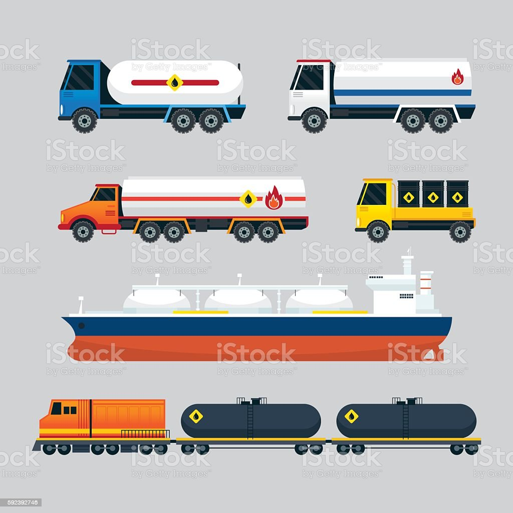 Oil Industry Vehicles, Transportation Set vector art illustration