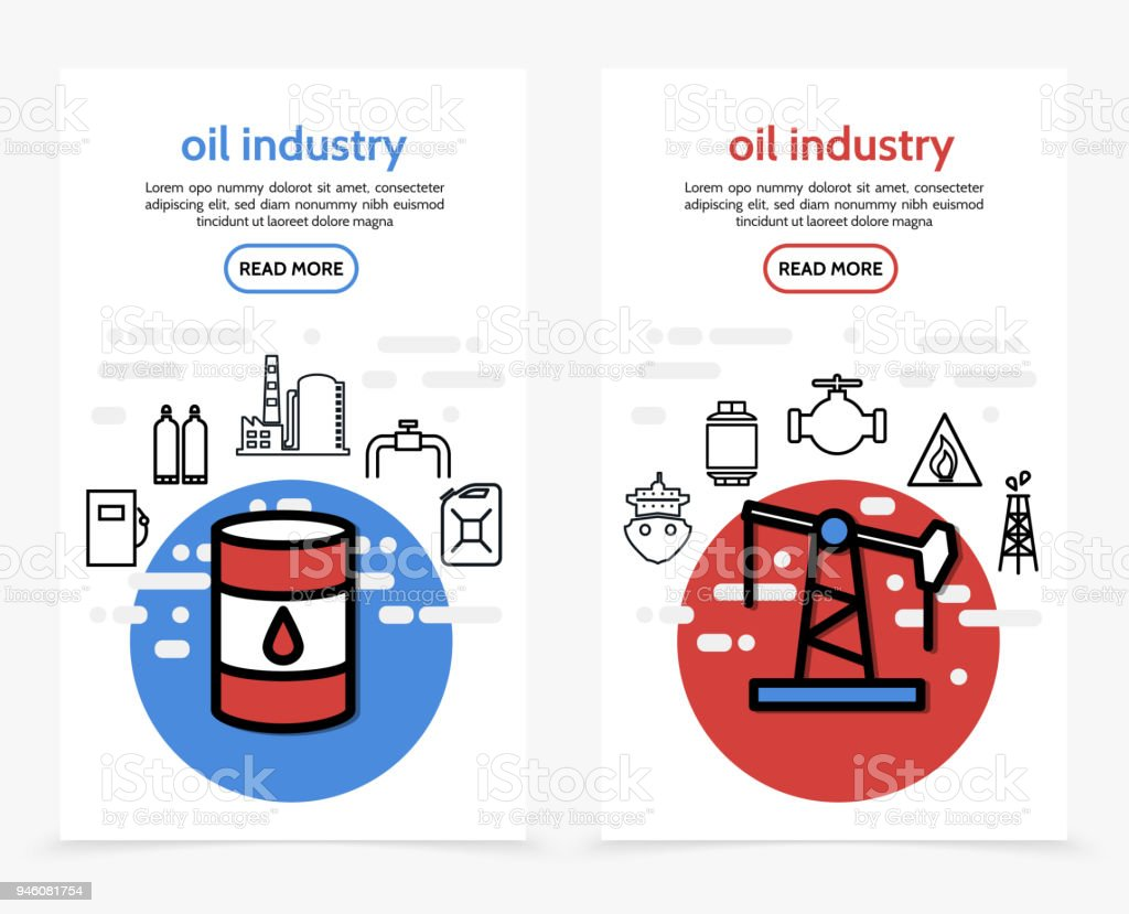 Olie industrie verticale Bannersvectorkunst illustratie