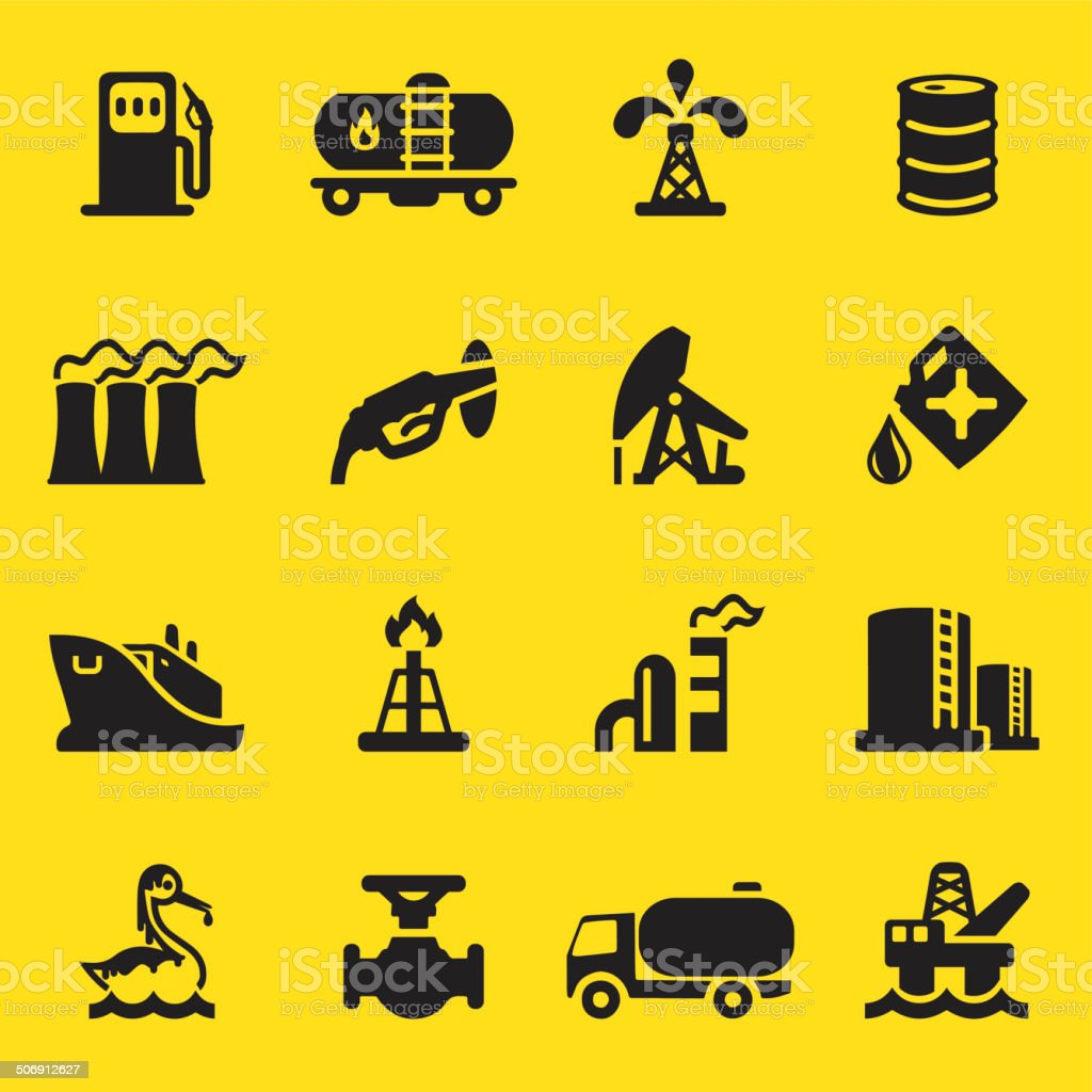 Oil Industry Yellow Silhouette icons | EPS10 vector art illustration