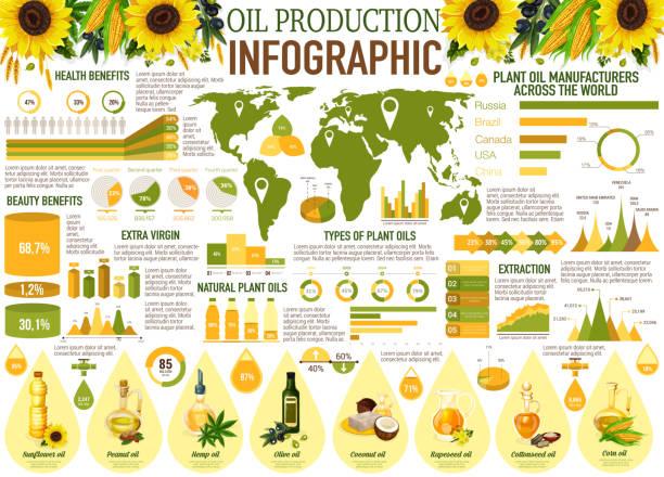 ilustrações de stock, clip art, desenhos animados e ícones de oil infographics with sunflower, olive, rapeseed - oleo palma
