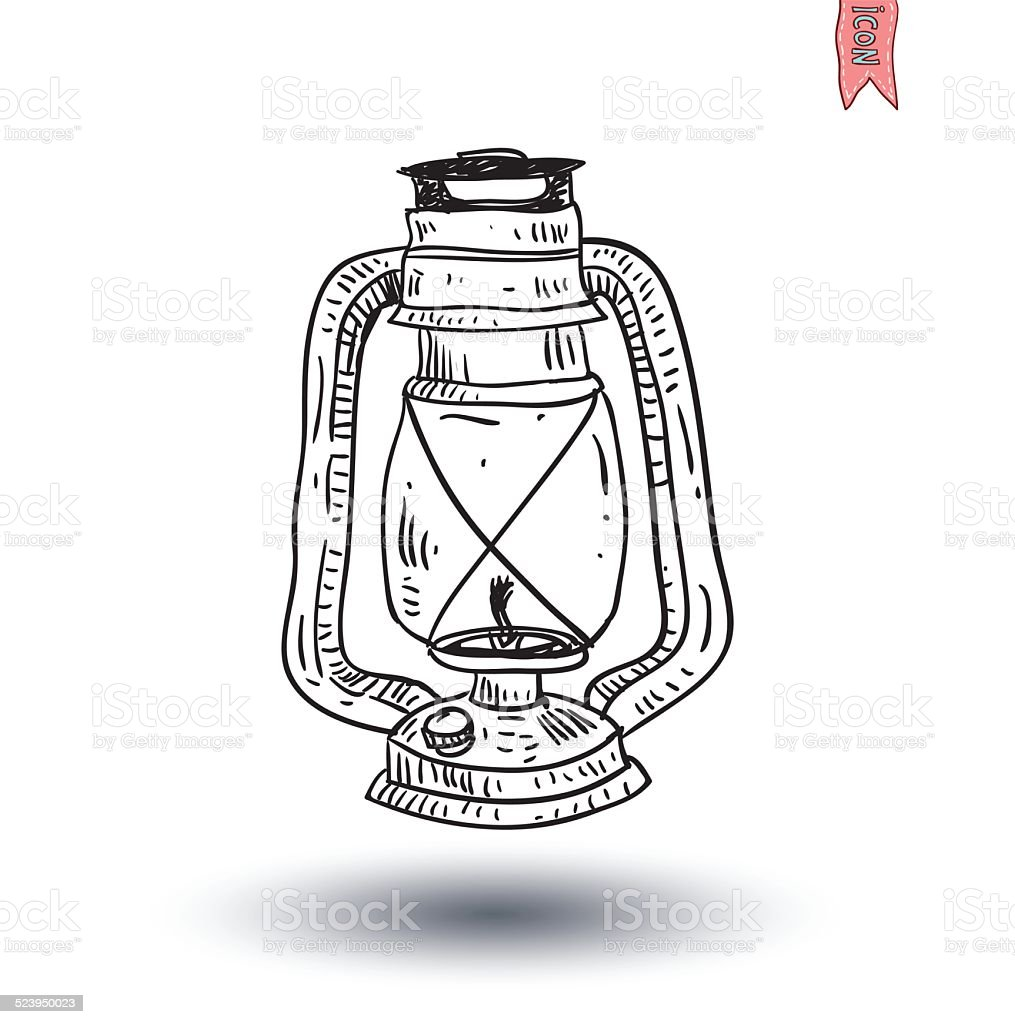 Oil Lamp Icon Hand Drawn Vector Illustration Stock Vector Art ... for Drawing Oil Lamp  111bof
