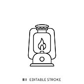 Oil Lamp Icon with Editable Stroke and Pixel Perfect.