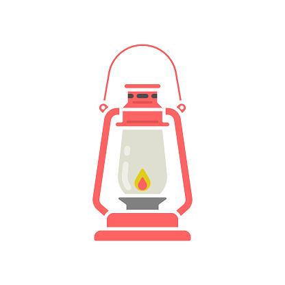 Oil Lamp or Lantern Icon Flat Design.