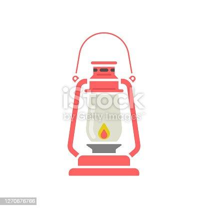 istock Oil Lamp or Lantern Icon Flat Design. 1270676766