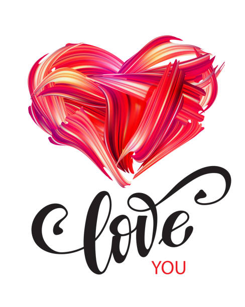 """oil or acrylic hand drawn heart with paint """"love"""" lettering - acrylic painting stock illustrations"""