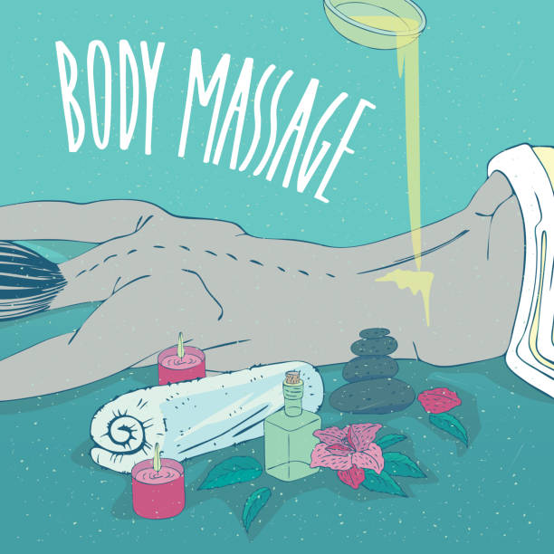 illustrazioni stock, clip art, cartoni animati e icone di tendenza di oil or cream is poured on back lying naked girl - china drug