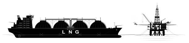okyanus içinde petrol veya gaz platformu ve sıvılaştırılmış gaz taşınması için bir tanker. çok sayıda parça ile siyah kontur. - kule stock illustrations