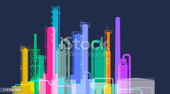 Colourful overlayed silhouettes of an Oil Refinery