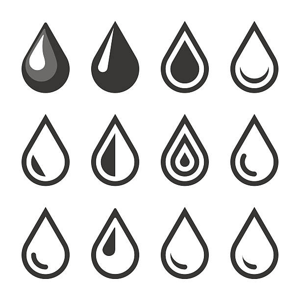 Oil Or Water Drop Emblem. Logo Template. Icon Set. Vector vector art illustration