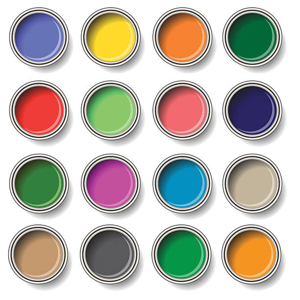 oil paint buckets colorful illustration  with  oil paint buckets  on white background paint can stock illustrations