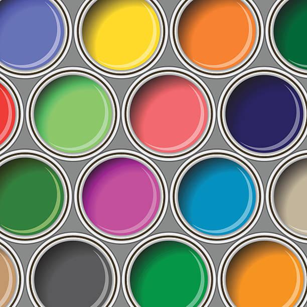 oil paint buckets vector art illustration