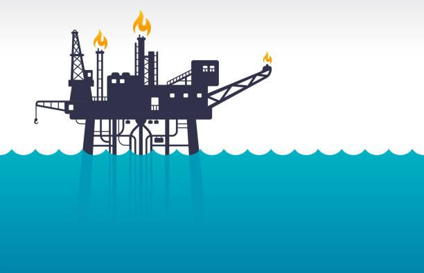 denizde petrol platformu - kule stock illustrations