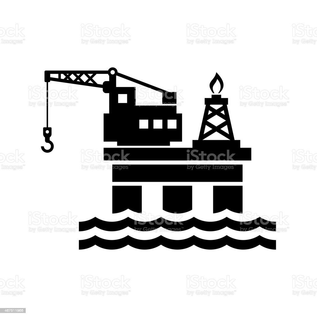 Oil Platform for Logo and Icon. Vector vector art illustration