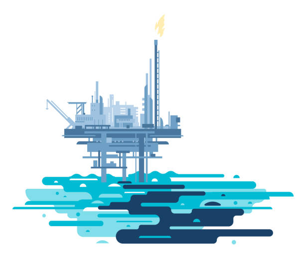 petrol platformu okyanus kirletti - kule stock illustrations