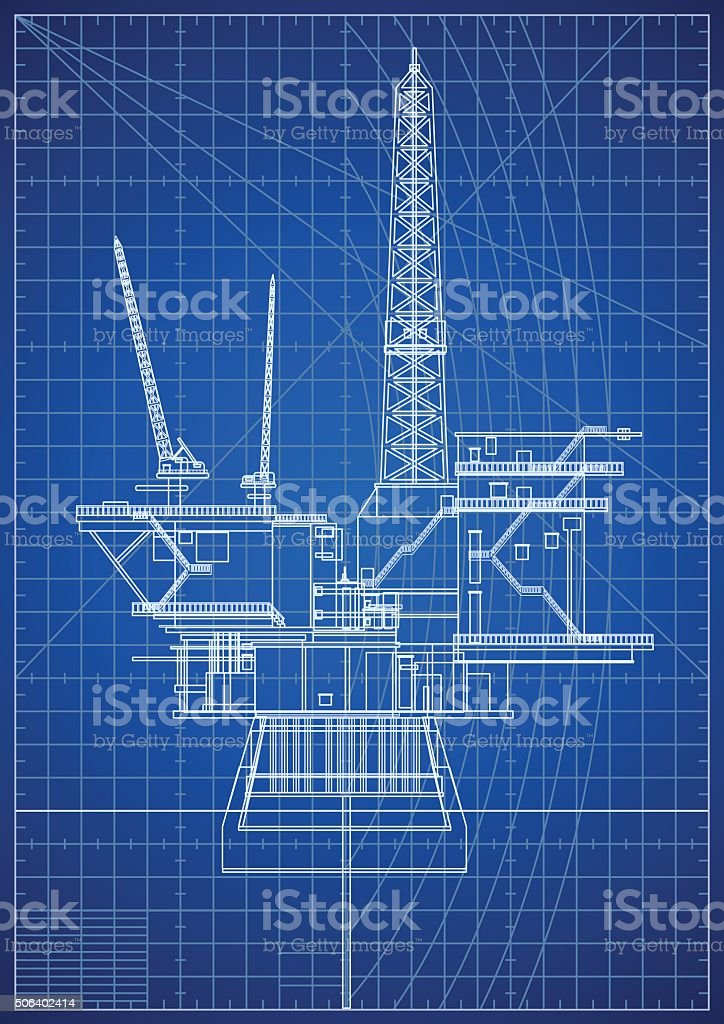 Oil Platforms Blueprint vector art illustration
