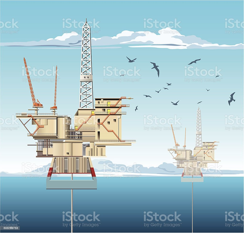 Oil Platforms vector art illustration