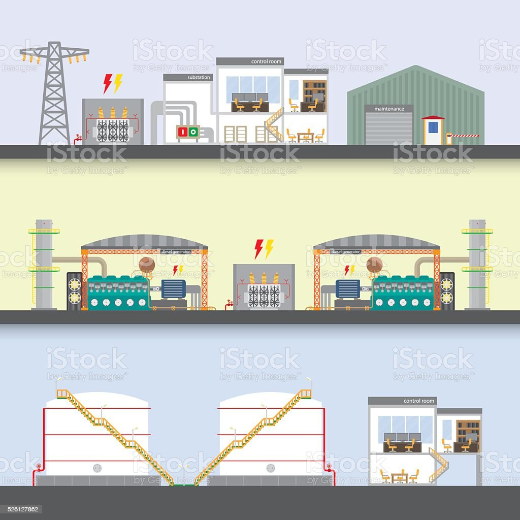 oil power plant vector art illustration